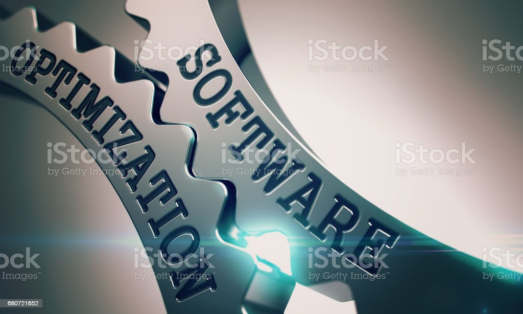 Software Optimization - Mechanism of Metallic Gears . 3D stock photo