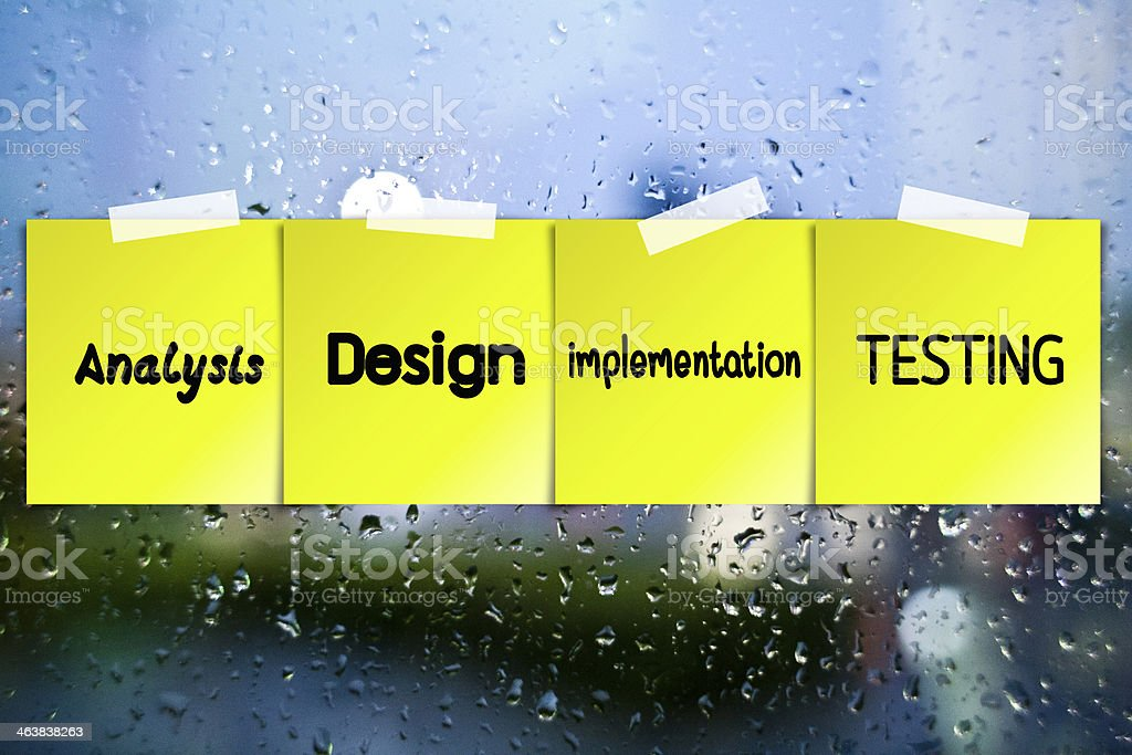 Software process sticky paper on glass with drops water backgrou royalty-free stock photo