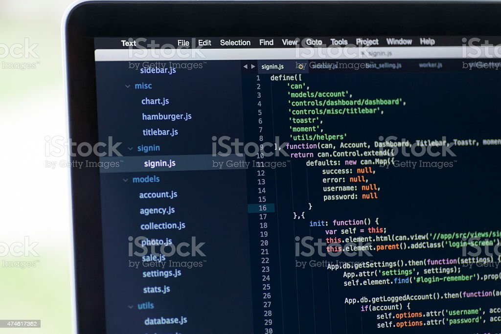 Software project using Javascript stock photo