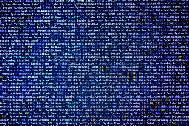 Software source code on black background stock photo