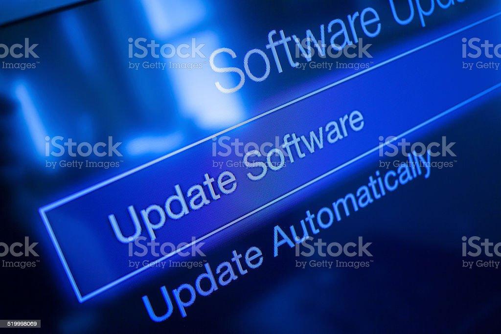 Software Update Screen stock photo