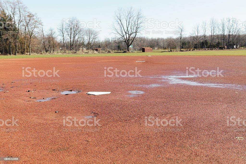 Soggy Spring Baseball Diamond royalty-free stock photo