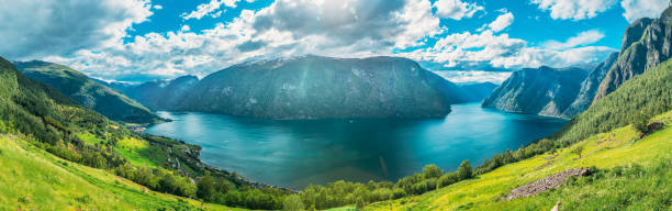 Sogn And Fjordane Fjord, Norway. Panorama Panoramic View Of Amazing Fjord Sogn Og Fjordane. Summer Scenic View Of Famous Natural Attraction Landmark And Popular Destination In Summer stock photo