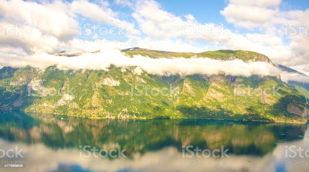 Sogne Fjord in Clouds in Norway stock photo