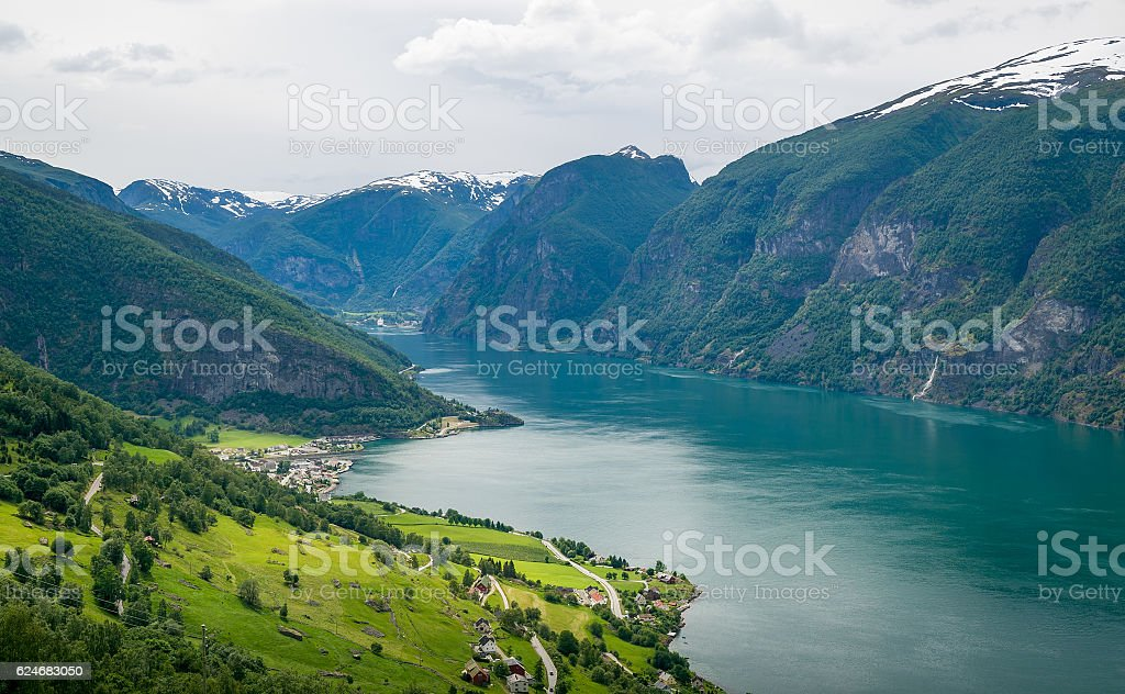 Sognefjord aerial view, Norway stock photo