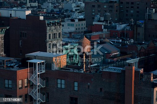 High angle view of the SoHo neighborhood buildings in New York City.