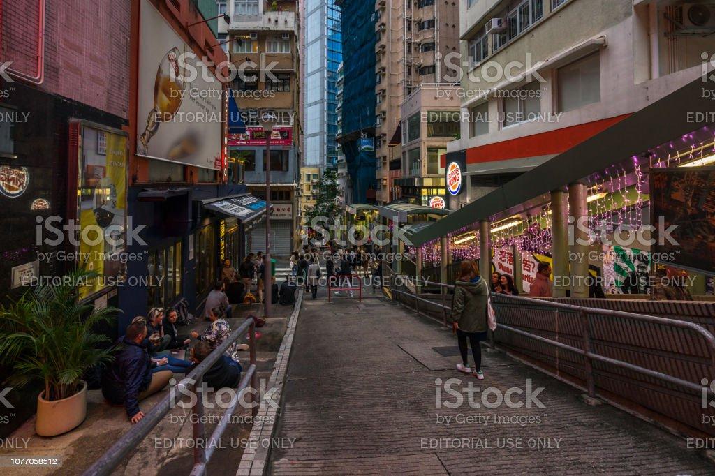 Soho Street is popular for with many bars, restaurants and art galleries, Hong Kong Soho Street is popular for with many bars, restaurants and art galleries. Hong Kong, January 2018 Architecture Stock Photo