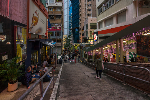 Soho Street Is Popular For With Many Bars Restaurants And Art Galleries Hong Kong Stock Photo - Download Image Now