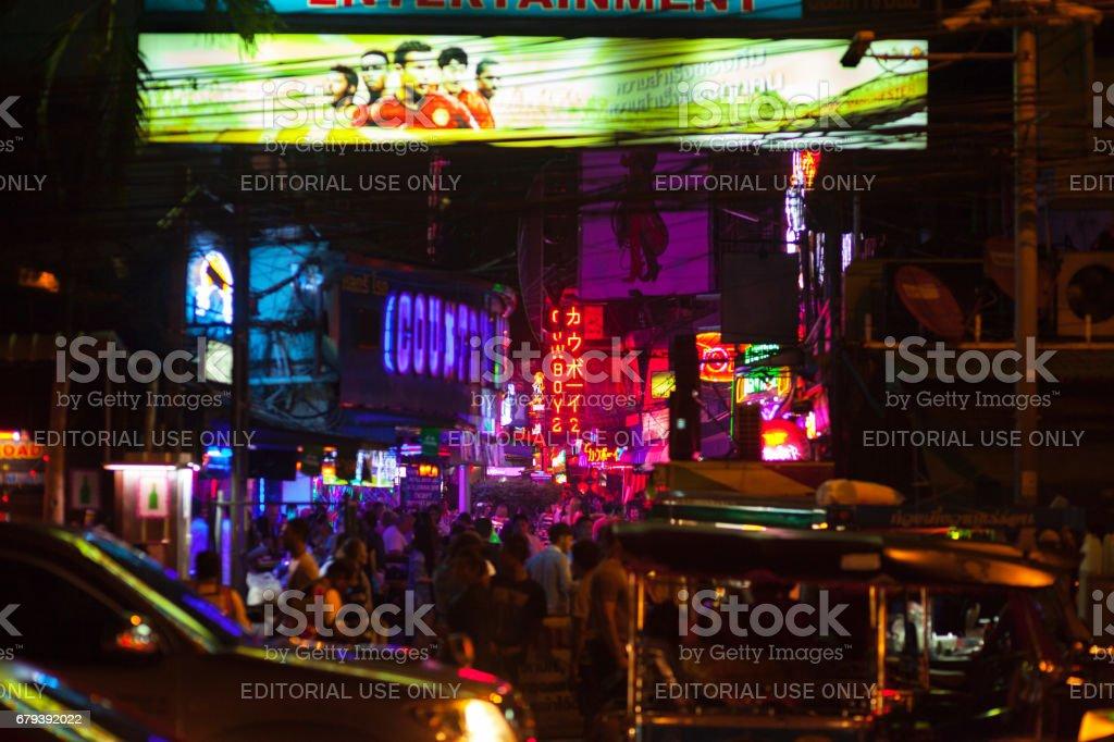 Soi Cowboy in Bangkok at night stock photo