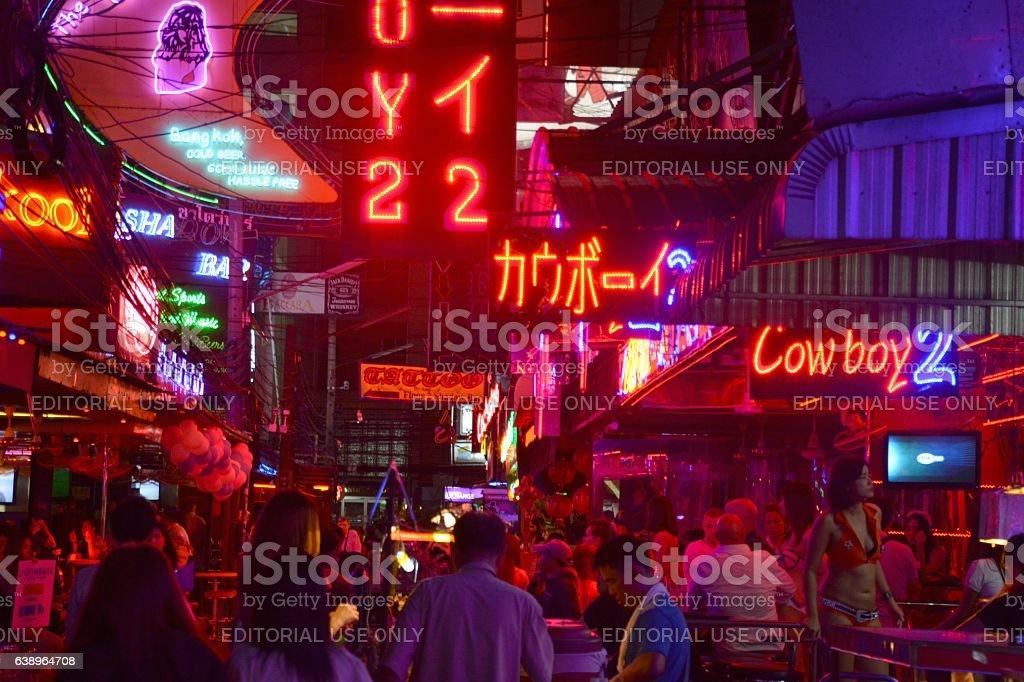 Soi Cowboy strip at night, Bangkok stock photo
