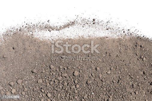 Soil on the white background.