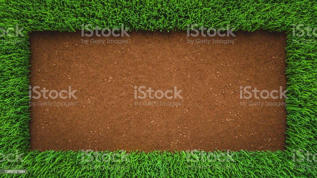 Soil background with frame grass stock photo