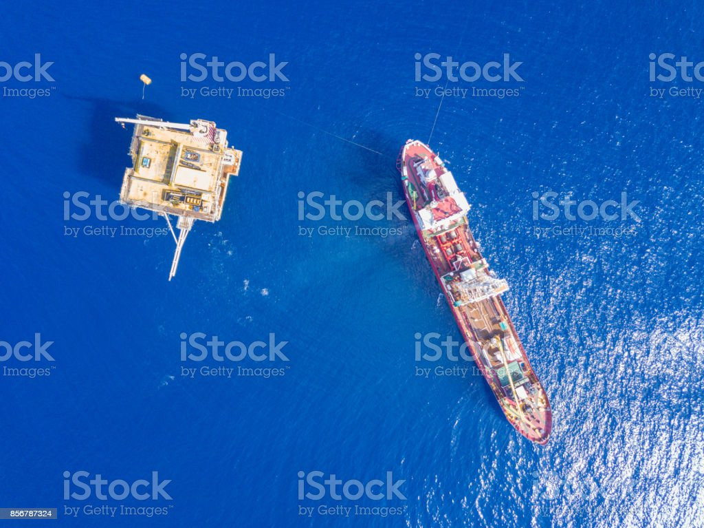 Soil Boring Boat (a geotechnical drilling cum analogue survey vessel) stock photo