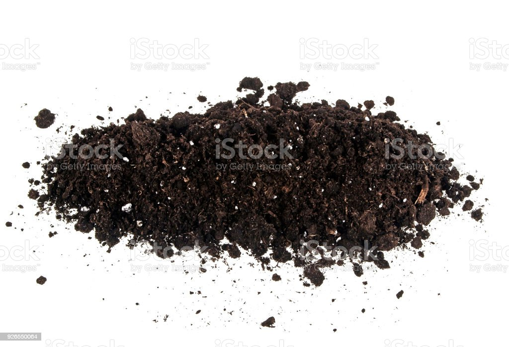 Soil heap isolated on white background stock photo