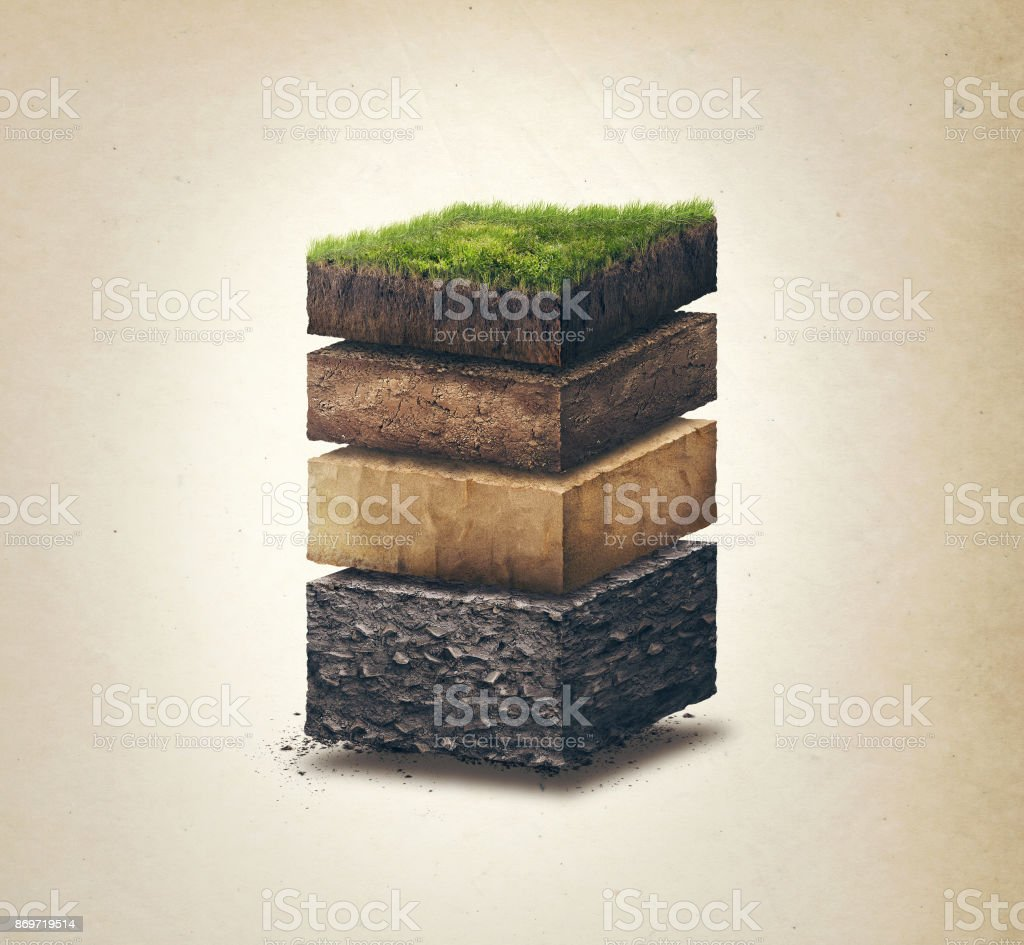 Soil layers. Cross section soil layers. 3D illustration, light background royalty-free stock photo