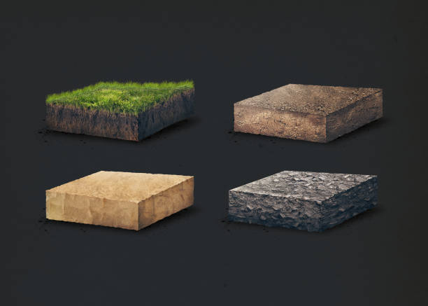 Soil layers. Four cross section soil layers. 3D illustration, dark background stock photo