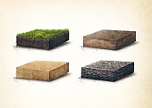 Soil layers. Four sross section soil layers. 3D illustration, light background