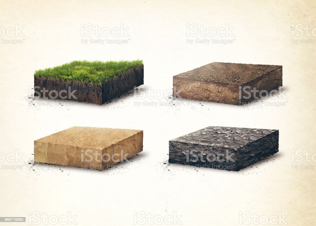 Lagen van de bodem. Vier sross sectie bodem lagen. 3D illustratie, lichte achtergrond foto