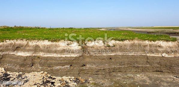 Ameland, the Netherlands - September 15, 2020: Eroded soil layers in a dry salt marsh creek