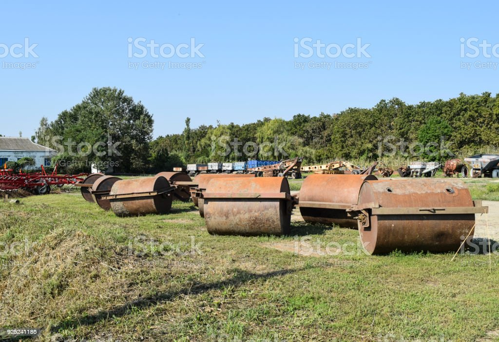 Soil rink. Presser and soil tamper on trailer for tractor. stock photo