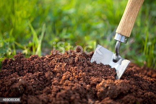 Garden trowel in the soil humus.