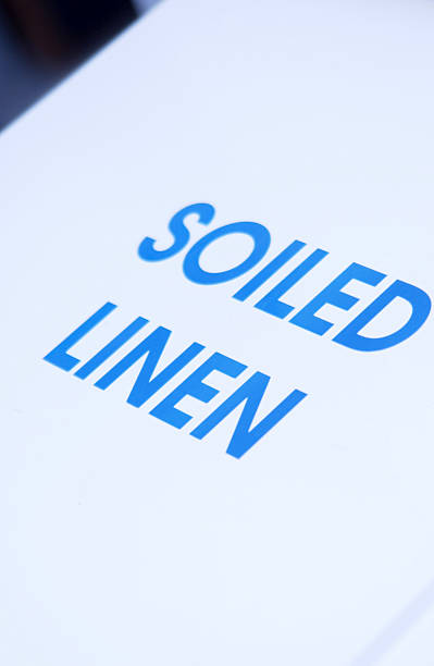 Soiled linen hamper stock photo