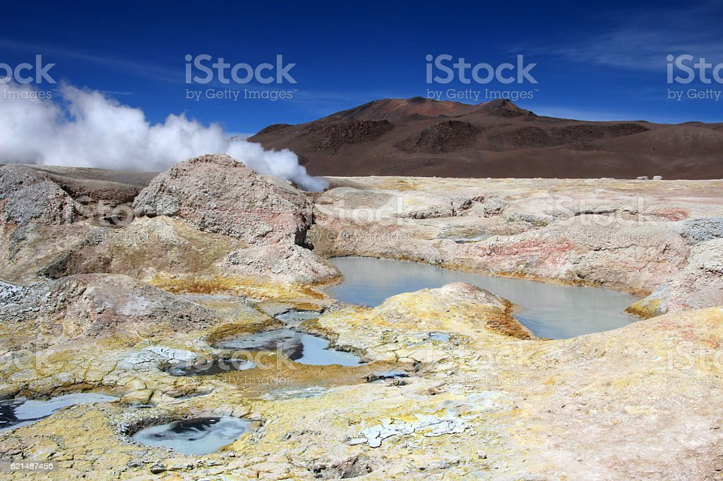 Sol de manana geyser field, Bolivia foto stock royalty-free