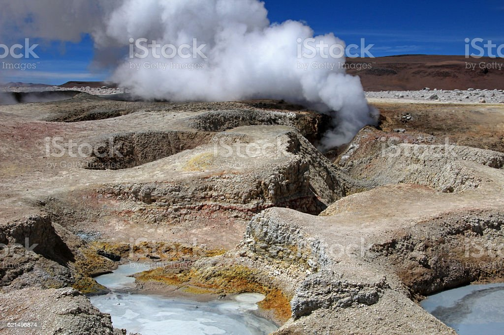 Sol de manana geyser field, Bolivia photo libre de droits