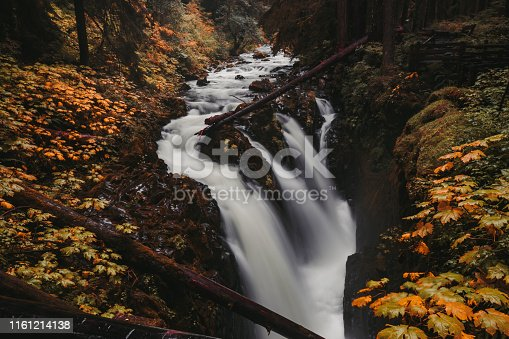Long exposure of a waterfall known as Sol Duc Falls at Olympic National Park, Washington, USA in the fall