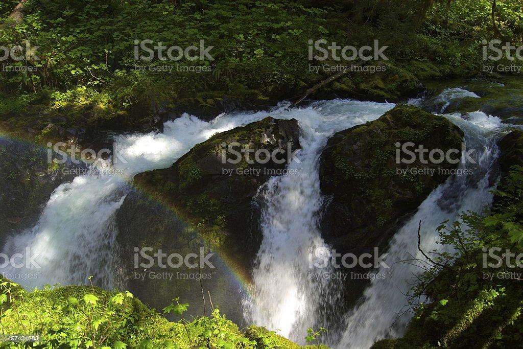 Sol Duc Falls Rainbow stock photo
