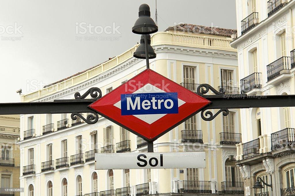 Sol Metro sign, Madrid stock photo