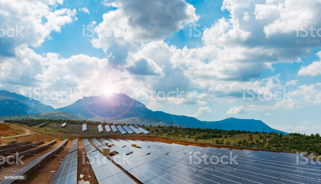 solar and ecological life stock photo