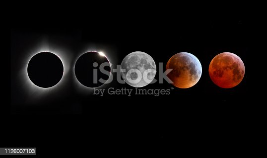 A montage of moon images during a total solar eclipse and a lunar eclipse