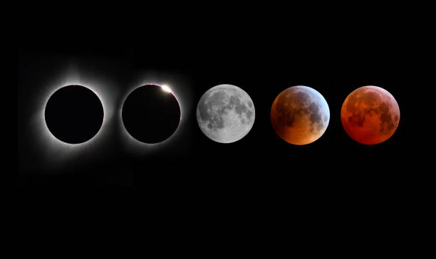 Solar and Lunar Eclipse montage stock photo