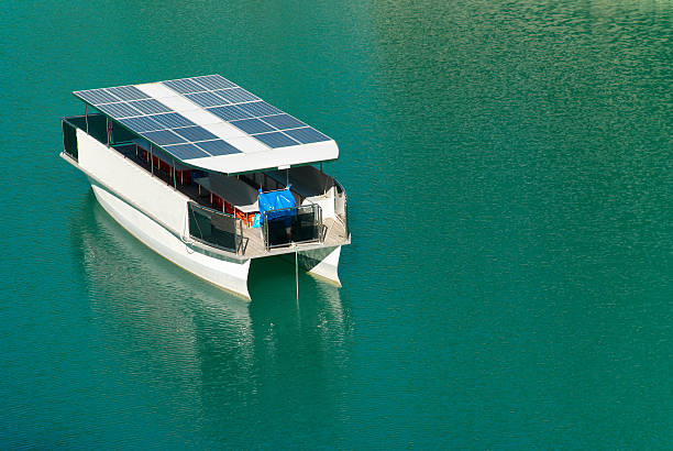 Solar boat stock photo
