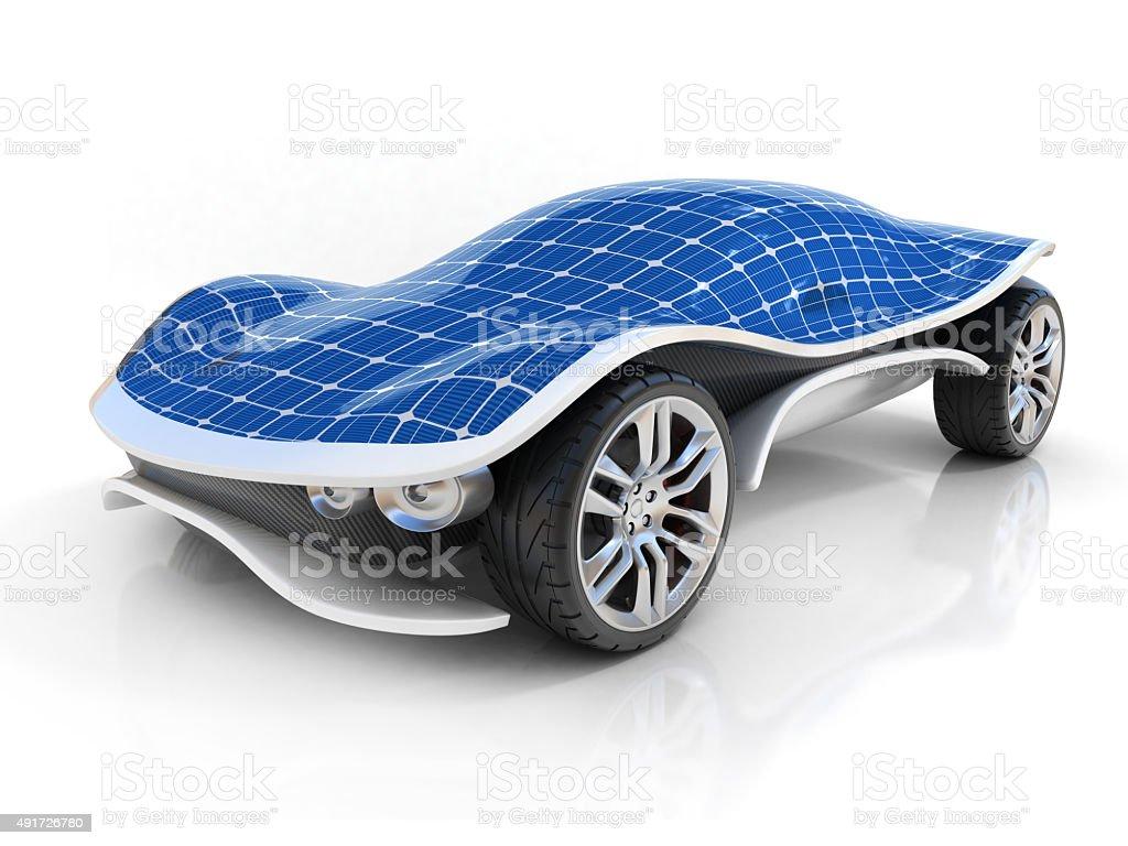 solar car 3d concept stock photo