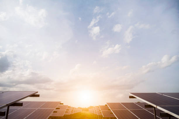 Solar cell farm in power station for alternative energy from the sun stock photo