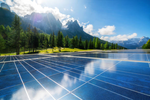 solar cell panel in country mountain landscape. - energia rinnovabile foto e immagini stock