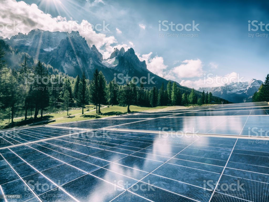 Solar cell panel in country mountain landscape. stock photo