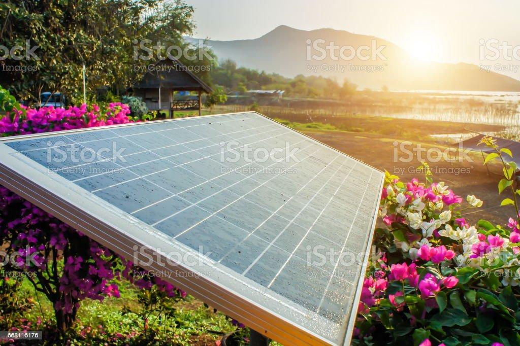 Solarzelle mit Sonnenaufgang – Foto