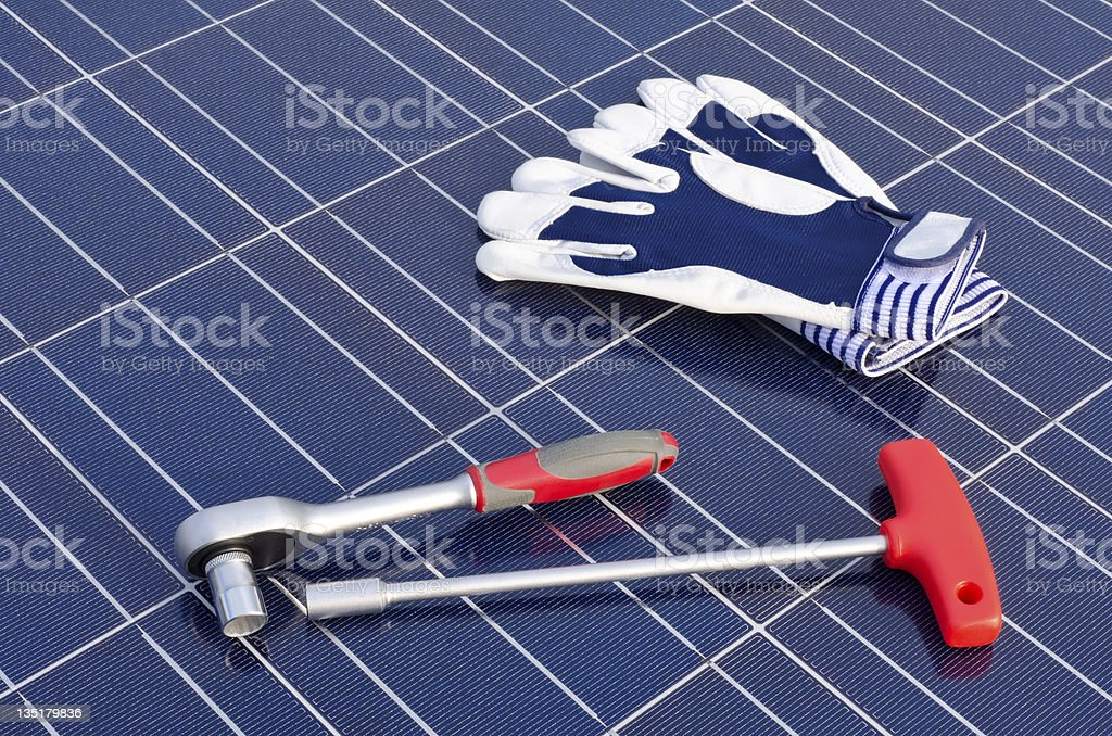 Solar cells and tools royalty-free stock photo