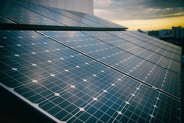Solar  cells panels for clean energy. stock photo