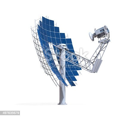 Solar Dish Engine isolated on white background. 3D render