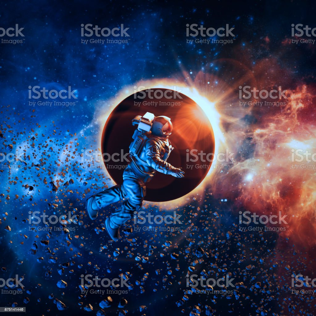 Solar eclipse astronaut stock photo