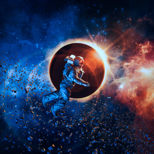 solar eclipse astronaut - space exploration stock photos and pictures