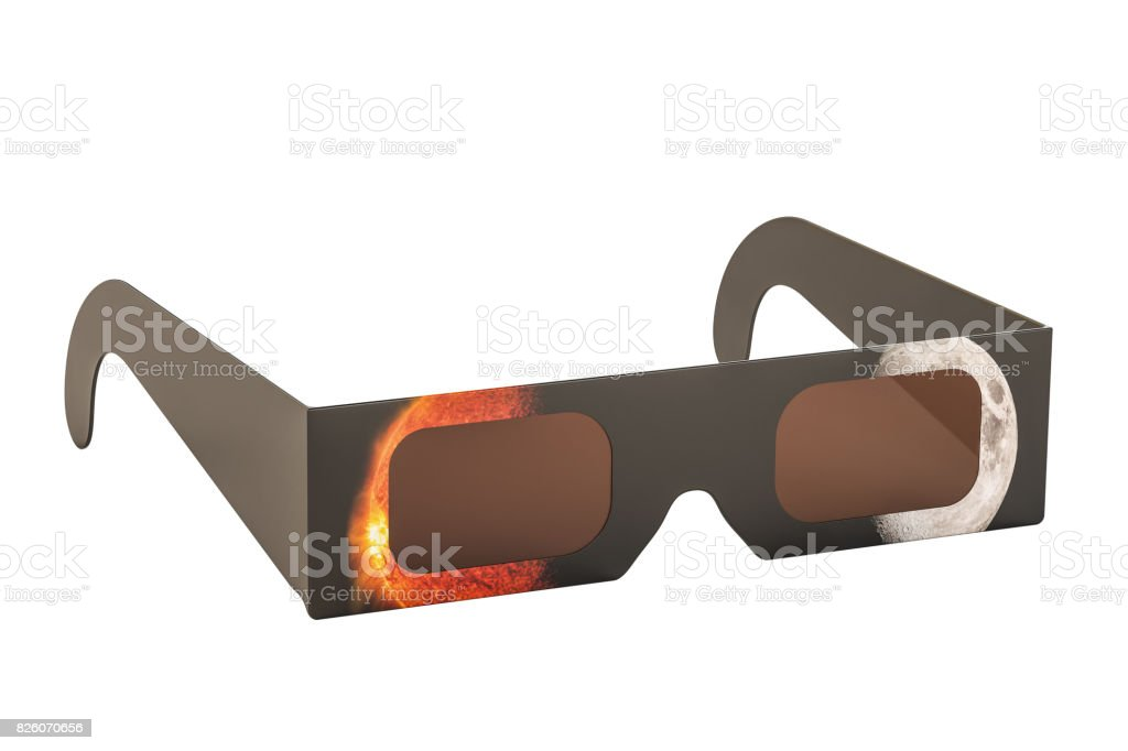 Solar Eclipse Glasses, 3D rendering stock photo