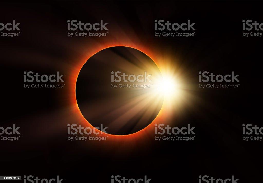 Solar eclipse on dark background stock photo