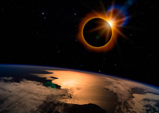 Solar Eclipse on Starry Sky stock photo