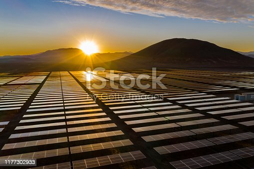 Solar Energy Generation on the desert at high altitude the best conditions for solar generation with photovoltaic modules in order to transform the energy coming from the sun onto electricity