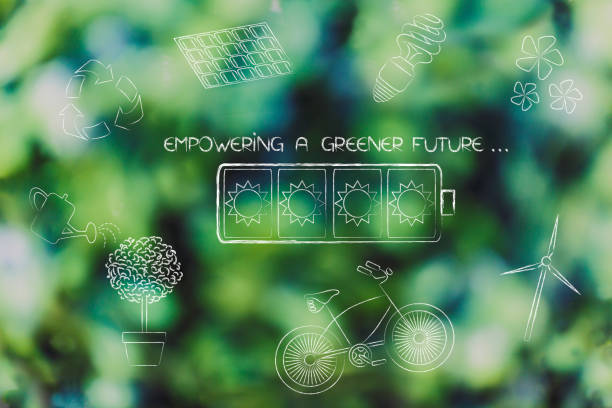 solar energy battery surrounded by other ecology-related objects stock photo